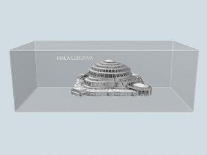 Wizualizacja grawerowania statuetki Hala Ludowa pamiątka z wrocławia - widok perspektywa