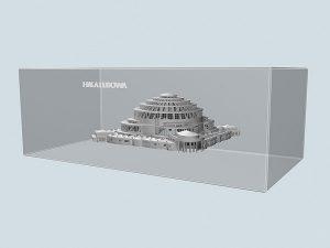 Wizualizacja grawerowania statuetki Hala Ludowa pamiątka z wrocławia - widok perspektywa2