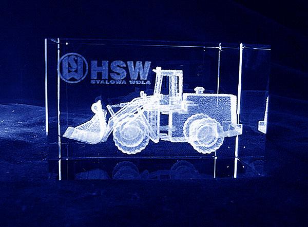 Ładowarko koparka grawerowana szklana statuetka ekskluzywny i nowoczesny prezent dla partnerów handlowych