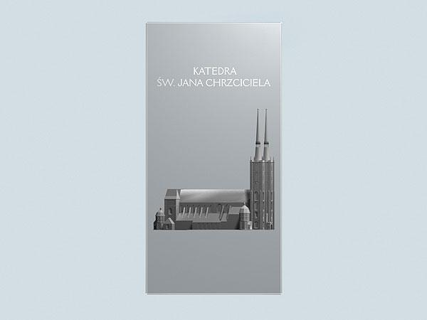 Wizualizacja 3d grawerowania Katedry Wrocławskiej w szklanej statuetce - widok z przodu
