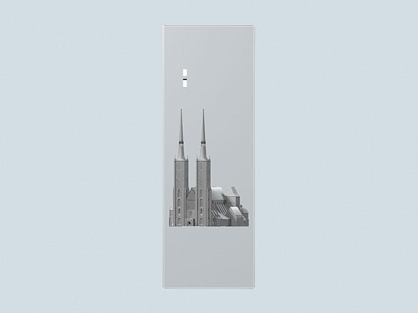 Wizualizacja 3d grawerowania Katedry Wrocławskiej w szklanej statuetce - widok z boku