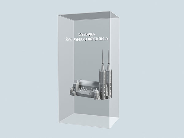 Wizualizacja 3d grawerowania Katedry Wrocławskiej w szklanej statuetce - widok perspektywa2