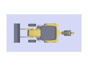Wizualizacja projektu grawerowania 3d ładowarko koparki w szklanej statuetce widok z góry