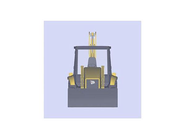 Wizualizacja projektu grawerowania 3d ładowarko koparki w szklanej statuetce widok z boku
