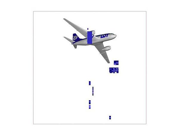 Wizualizacja projekt grawerowania 3d samolotu w szklanej statuetce widok z dołu
