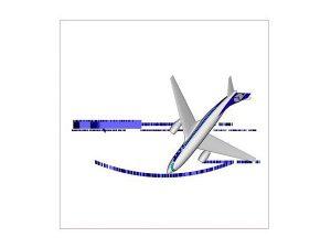 Wizualizacja projekt grawerowania 3d samolotu w szklanej statuetce widok z góry