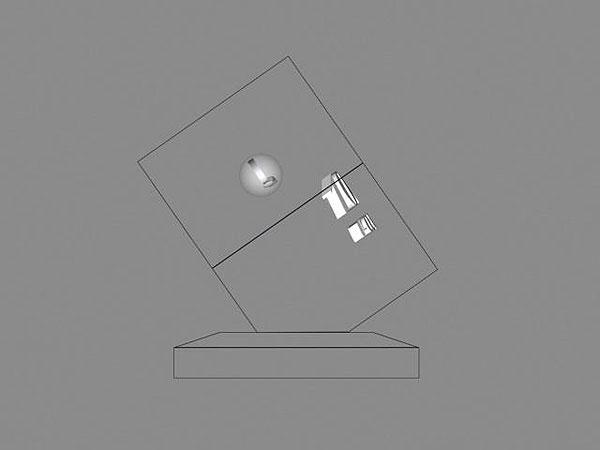 Wizualizacja grawerowania szklanej statuetki na 10-lecie firmy - widok z boku