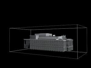 Wizualizacja projekt grawerowania 3d budynku Opery Wrocławskiej w szklanej statuetce - widok perspektywa
