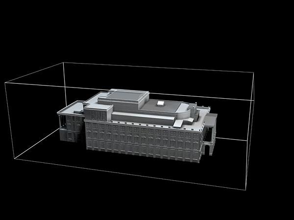 Wizualizacja projekt grawerowania 3d budynku Opery Wrocławskiej w szklanej statuetce - widok perspektywa2