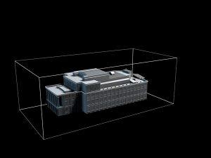 Wizualizacja projekt grawerowania 3d budynku Opery Wrocławskiej w szklanej statuetce - widok perspektywa3