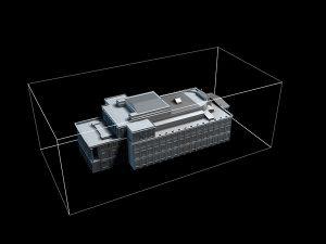 Wizualizacja projekt grawerowania 3d budynku Opery Wrocławskiej w szklanej statuetce - widok z góry1