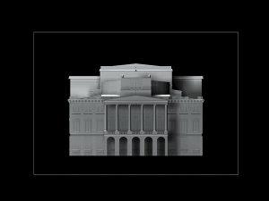 Wizualizacja projekt grawerowania 3d budynku Opery Wrocławskiej w szklanej statuetce - widok z przodu