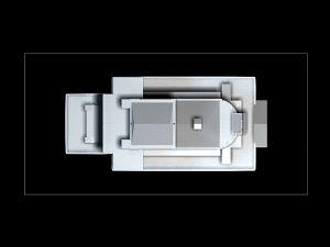 Wizualizacja projekt grawerowania 3d budynku Opery Wrocławskiej w szklanej statuetce - widok z góry