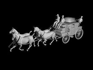 Wizualizacja projekt koni pocztylionu grawerowanie 3d - perspektywa