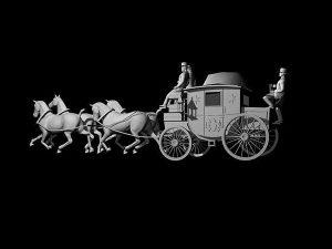 Wizualizacja projekt koni pocztylionu grawerowanie 3d - widok z boku