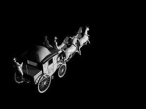 Wizualizacja projekt koni pocztylionu grawerowanie 3d - widok z tyłu
