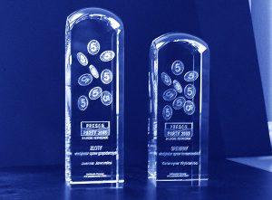 Szklane statuetki złote i srebrne wyróżnienie na 5-lecie firmy