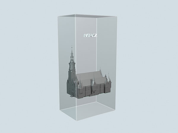Wizualizacja projekt grawerowania 3d Ratusz Wrocławski w szklanej statuetce - widok perspektywa2