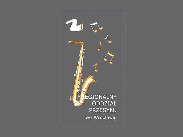 Projekt wizualizacja 3d grawerowania saksofonu w szklanej statuetce - widok z przodu
