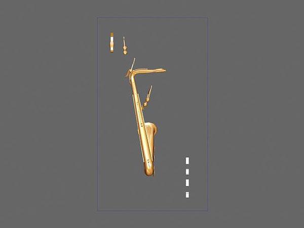 Projekt wizualizacja 3d grawerowania saksofonu w szklanej statuetce - widok z boku