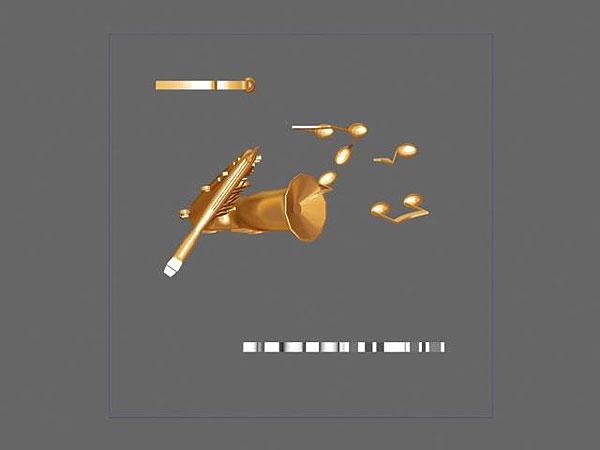 Projekt wizualizacja 3d grawerowania saksofonu w szklanej statuetce - widok z góry