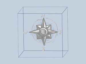 Projekt 3d grawerowania róży wiatrów w szklanej statuetce - perspektywa