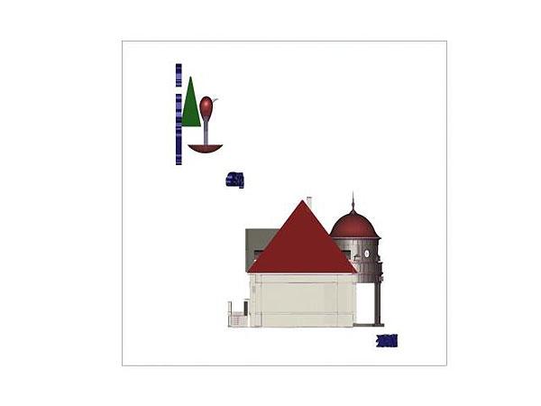Wizualizacja projekt graweru 3d zabytkowego budynku zdrojowego w Polanicy - widok z boku