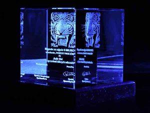 Szklana statuetka tygrys nagroda w konkursie