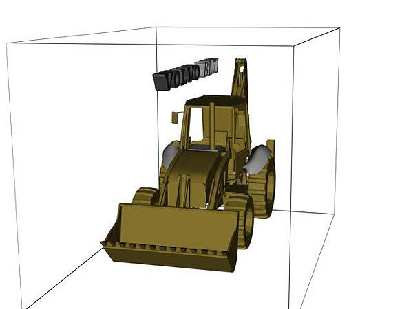 Wizualizacja projekt grawerowania 3d koparko-ładowarka - widok z boku