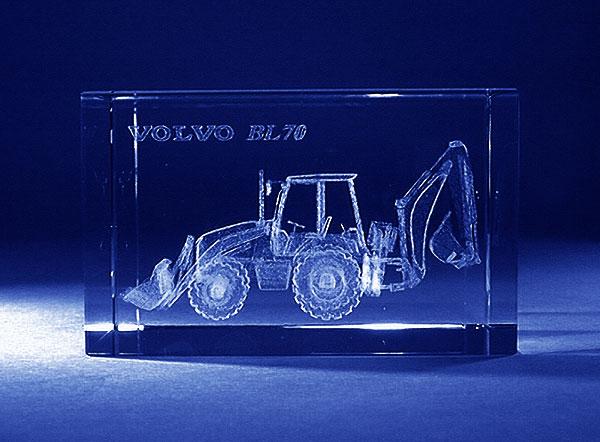 Koparko ładowarka grawerowanie 3d szklana statuetka