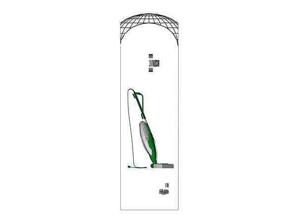 Wizualizacja grawerowania 3d odkurzacza w szklanej statuetce - widok z boku