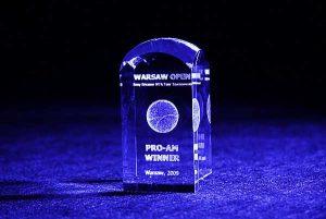 Nagroda w turnieju tenisowym szklana statuetka
