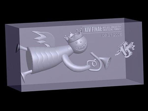 Wizualizacja 3d anioła w szklanej statuetce - prostopadłościan perspektywa