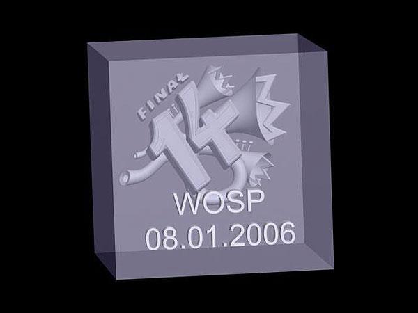 Wizualizacja 3d trąbka w szklanej statuetce - sześcian perspektywa