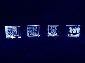 Herby i logotypy miasta grawer 3d w szklanej statuetce - Wrocław
