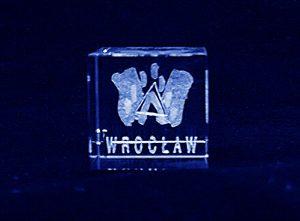 Logo miasta grawer 3d w szklanej statuetce