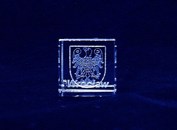 Herb miasta Wrocławia grawer 3d w szklanej statuetce