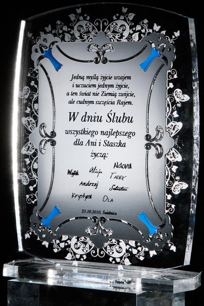 Statuetka akryl pleksi z okazji ślubu