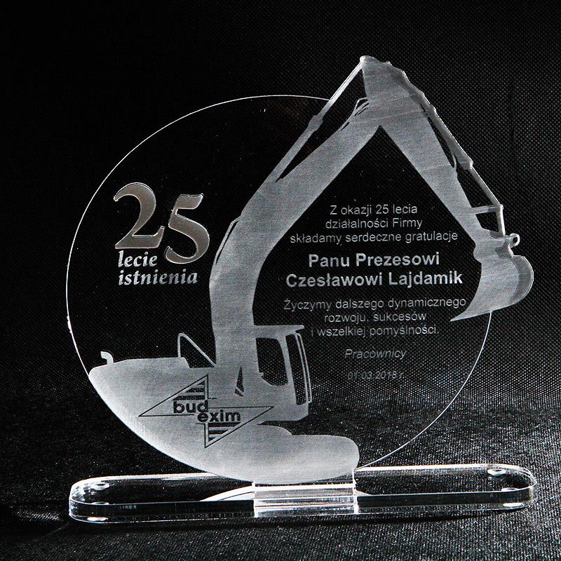 Statuetka akrylowa z pleksi z okazji 25 lat istnienia