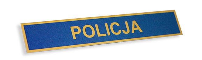 metalowy identyfikator złoty policja