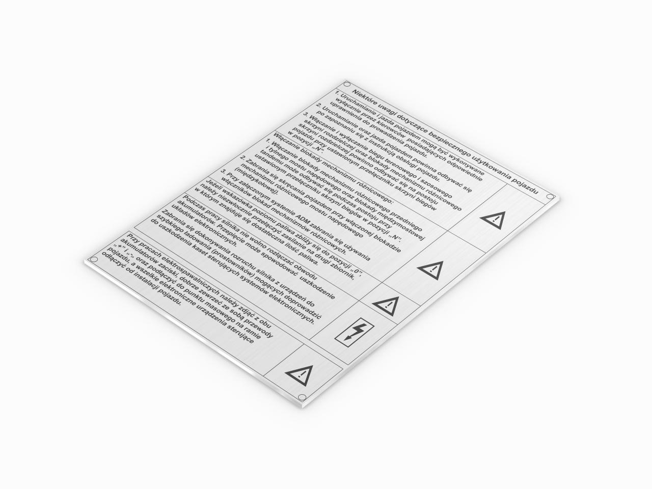 instrukcja obslugi tabliczka aluminiowa