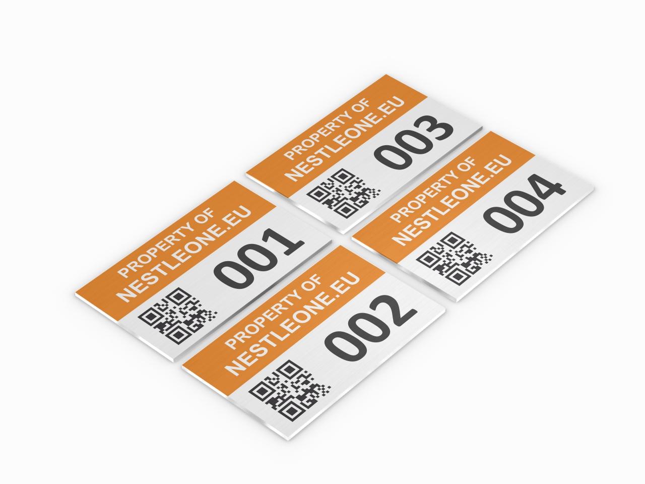 inwentaryzacyjna tabliczka aluminiowa property of z kodem QR
