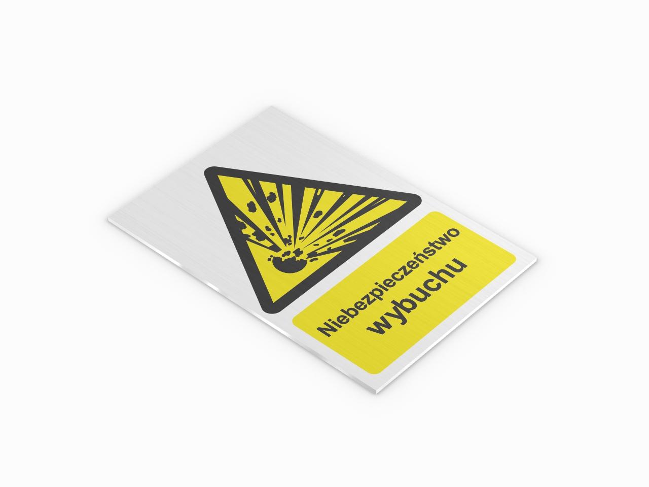 ostrzegawcza tabliczka aluminiowa niebezpieczeństwo wybuchu