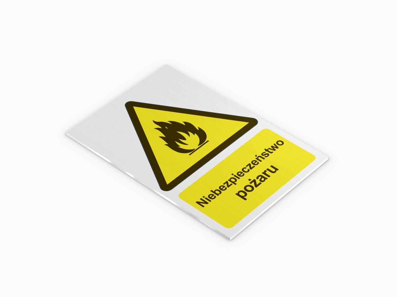 ostrzegawcza tabliczka aluminiowa niebezpieczeństwo pożaru