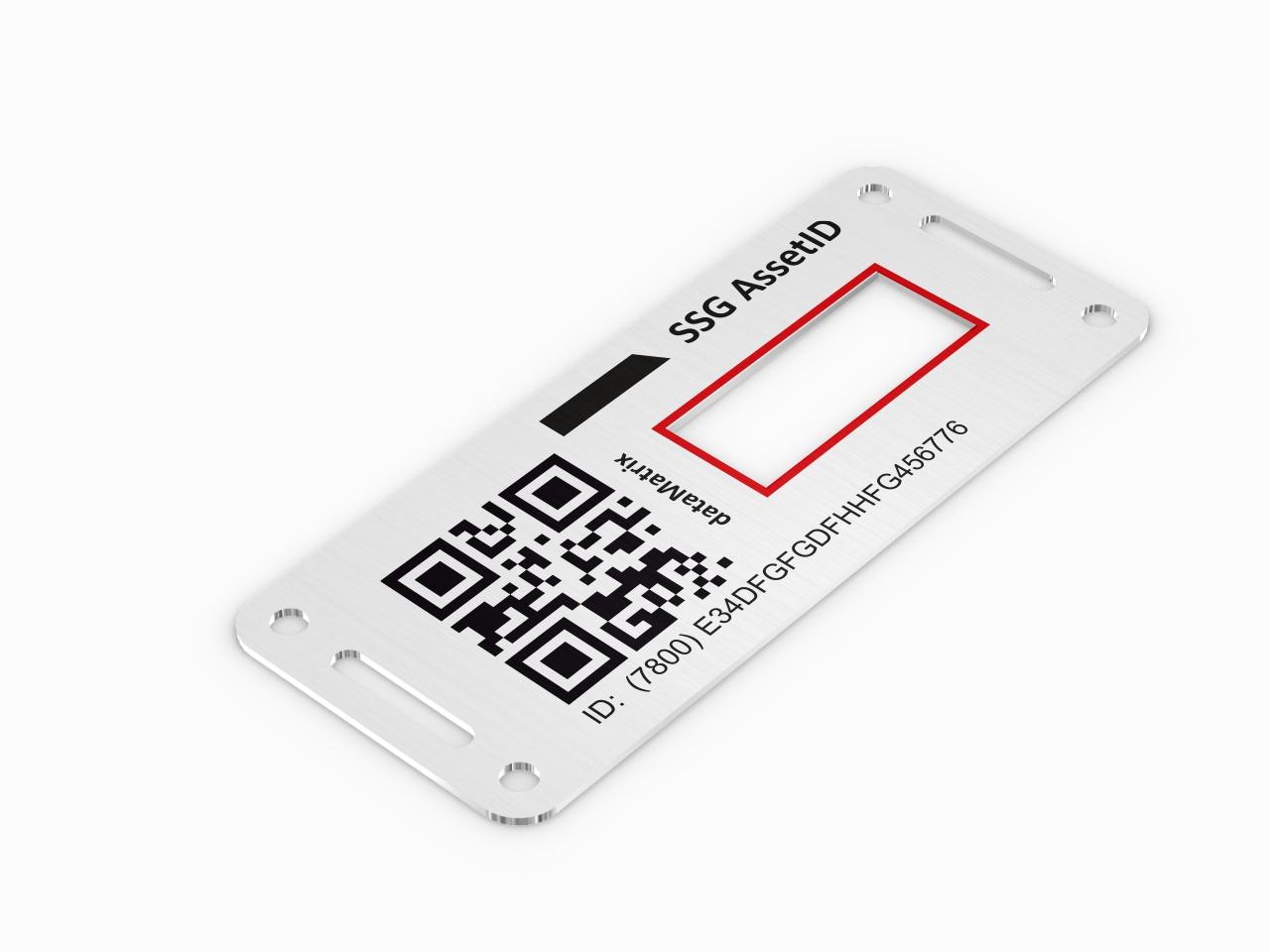 Aluminiowa tabliczka identyfikacyjna z kodem QR i okienkiem na wyświetlacz