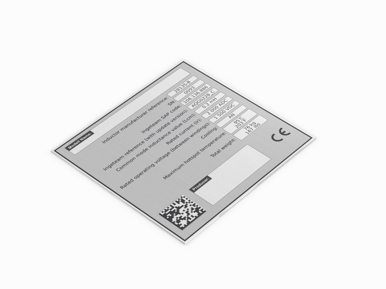 znamionowa tabliczka aluminiowa z kodem QR