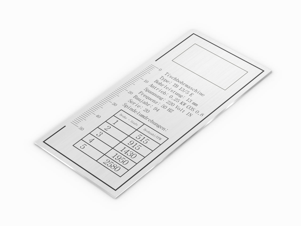 Aluminiowa tabliczka znamionowa z instrukcją i miarką linijką