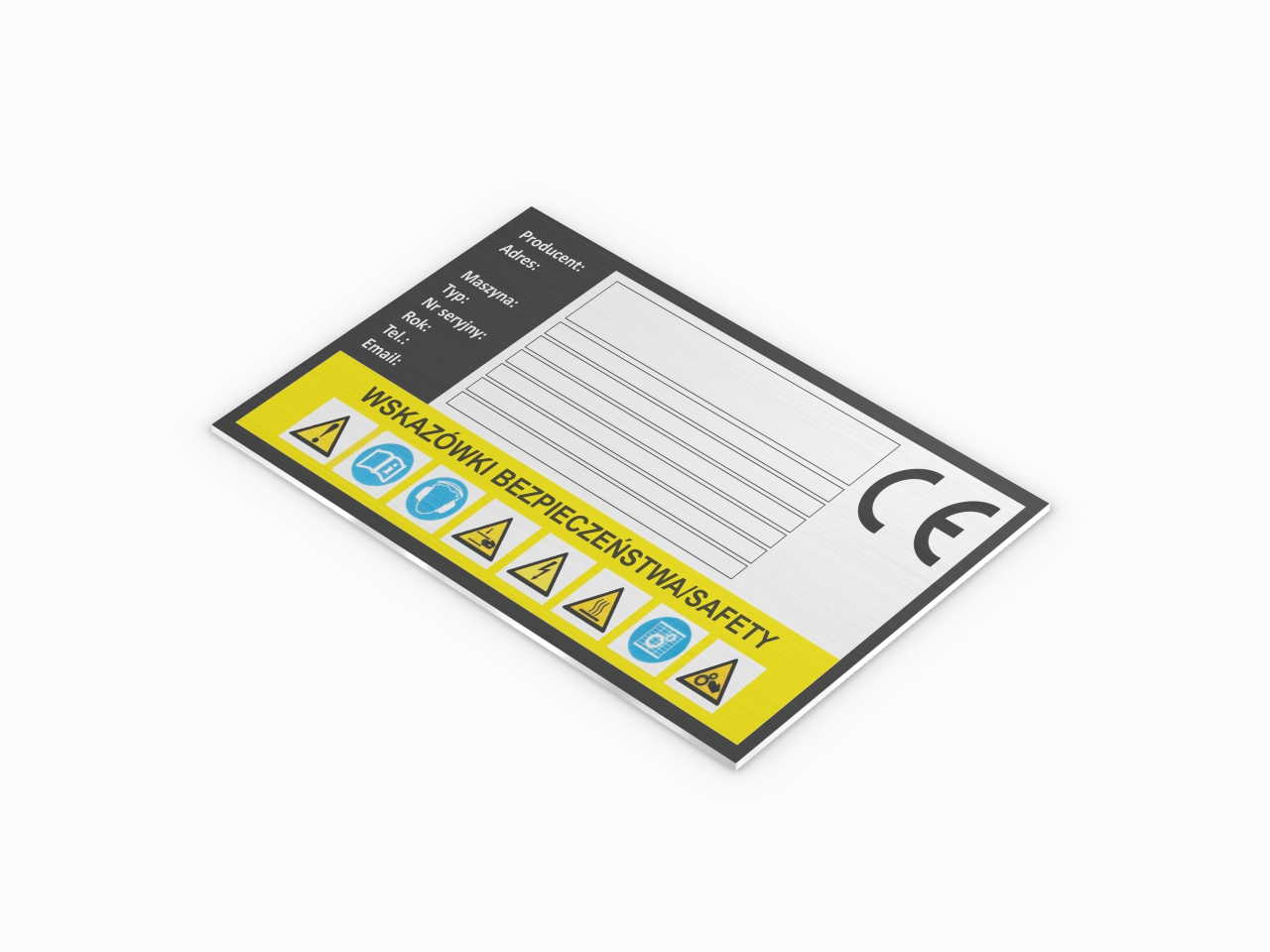 znamionowa tabliczka ostrzegawcza aluminiowa ce wskazówki bezpieczeństwa