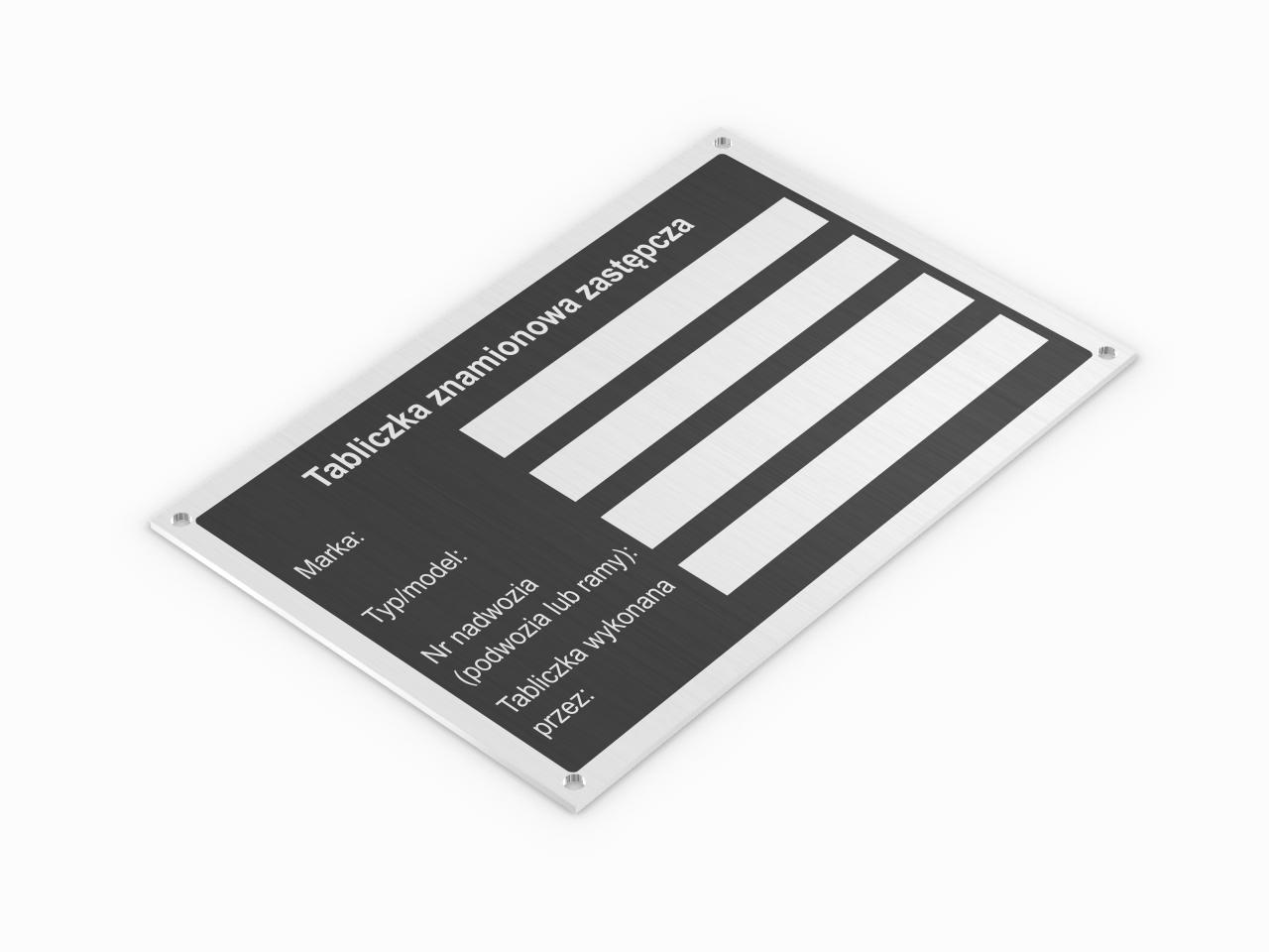 znamionowa zastępcza tabliczka aluminiowa kolor czarny